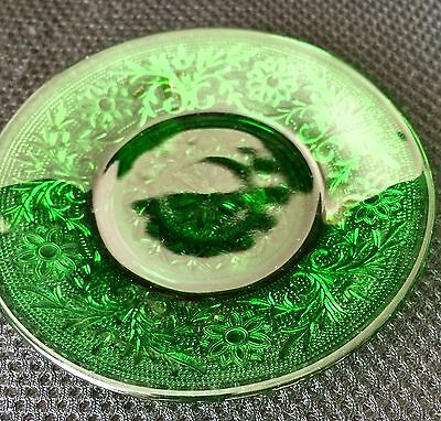 "Small Antique Glass Plate, Green with Detailed Design, 5"" Diameter"