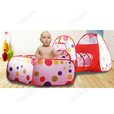 3 In 1 Kids Play Tent Play House Tents Tunnel Ball Pit Toy Christmas Gift US