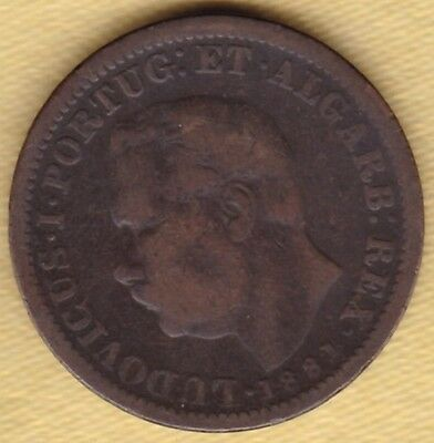 Portuguese India 1/4 Tanga 1881 Copper Coin #z12