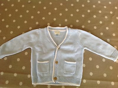 Baby boy blue cotton cardigan from John Lewis. 3-6 months