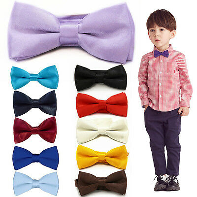 New Children Kids Toddler Boys Solid Colour Bowtie Pre Tied Bow Tie Party School
