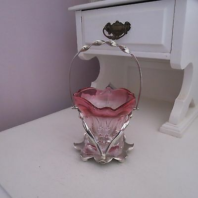 Antique ruby pink rim & clear glass sugar dish in silver plate holder stand