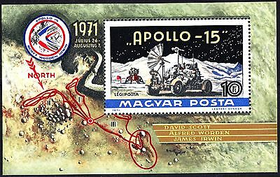 Hungary 1972 Apollo 15 Minisheet Space MNH