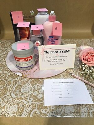 Baby Shower Game : The price is right Guess the price Girl Floral fun sweet