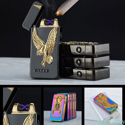 Lighter Rechargeable Plasma Windproof USB Electric Flameless Dual Arc Lighter k0