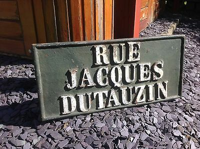 Vintage French Street Wall Plaque / Sign In Cast Iron