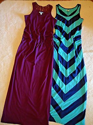 Old Navy Maternity Lot of 2 Summer Sleeveless Maxi Dresses Purple & Blue Size S