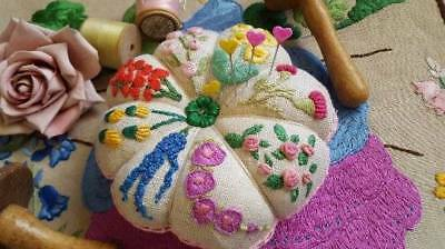 Hand Embroidered Vintage Petal Pin Cushion Cottage Garden Flowers