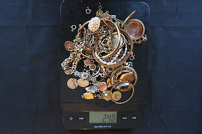 Gold Filled Jewelry and Watch Scrap Lot - 240 Grams - All Marked