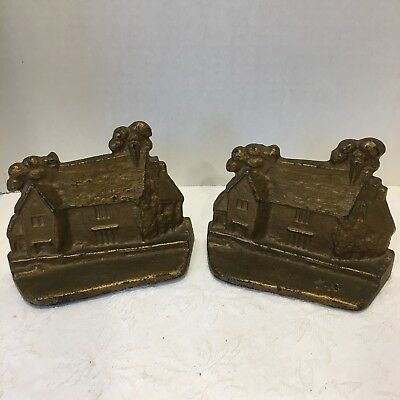 Vintage English Country Cottage Art Home House Cast Iron Bookends 2 Doorstops