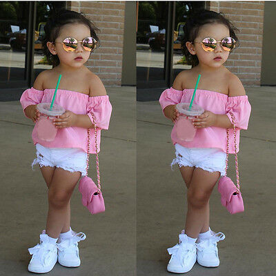 Kids Toddler Baby Girl Off Shoulder Tops+Shorts Jeans Pants Outfits 2PCS Clothes