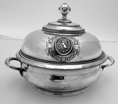 Medallion Silver Butter Dish Domed Lid Pierced Insert Ball Finial Silverplate