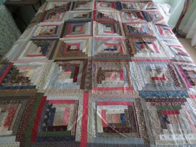 "Antique Early 1900's Hand-Stitched Log Cabin Patchwork Quilt Top 73"" x 73"""