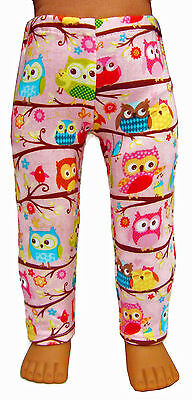 "Made in the USA Pink OWL Leggings for 18"" American Girl Doll Clothes"