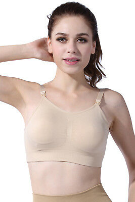 Women's Maternity Nursing Bra Breast Feeding Top Underwear Padded Black and Nude