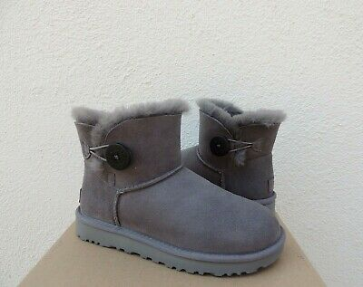 572de649a3a UGG AUSTRALIA MINI Bailey Button II Boots 1016422 Gray Grey 5 7 ...