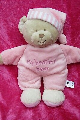 Mothercare MY BEDTIME BEAR Plain Pink Comforter Hug Soft Plush Toy