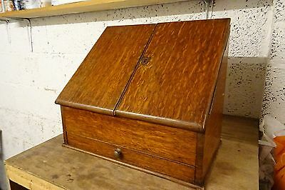 Nice Old Victorian  Wooden Stationary Box With Lower Drawer Compartment.