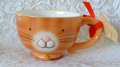 New Boston Warehouse Handpainted Ceramic Orange Tabby Cat Kitten 26oz Mighty Mug