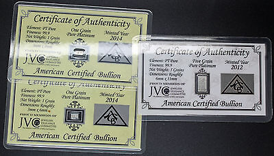 American Certified Bullion 7 Grains Pure Platinum With Cert. 2 1's And 1 5 Grain