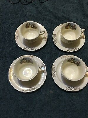 Courting Couple Cup And Saucers W S George Lido Canarytone