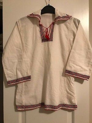 Vintage  Hand Embroidered Shirt Long Sleeve Crepe Red Black White Romanian Boy