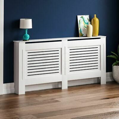 Milton Radiator Cover Modern White Extra Large Cabinet MDF Painted Wood Grill
