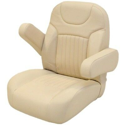 Boat Helm Seat | Reclining Captain's Chair 25 x 22 1/2 x 27 Inch Cream
