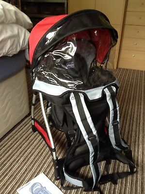 Chicco Caddy Backpack Rucksack Adjustable Seat Child/baby Carrier With Rain Hood