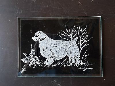 Clumber Spaniel- Hand engraved Freestanding Glass Plaque by Ingrid Jonsson