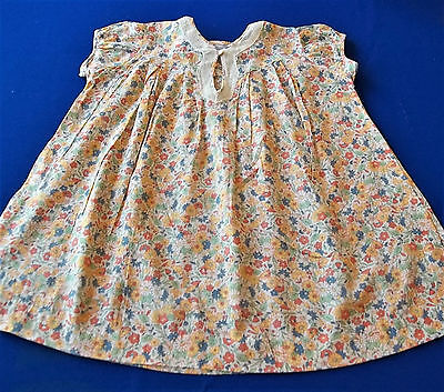 Vintage 1920 30's Marshall Field Girls Dress Floral Fabric Square Buttons sz 2