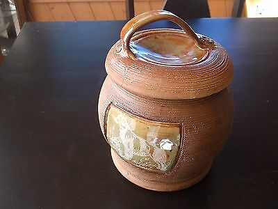 Brittany-  Impressive Stoneware Treat Jar designed and engraved by Ingrid