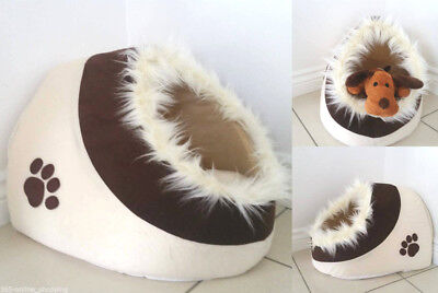 Fur Lined Brown Paw Igloo Pet Bed Warm Fleece Anti Slip Washable Cat Toy Dog Bed