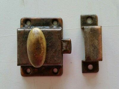 Old Brass turn knob cabinet chest latch and catch  (800)