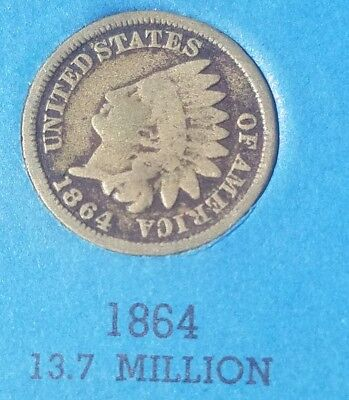 1864  Indian Head US Penny One Cent Coin