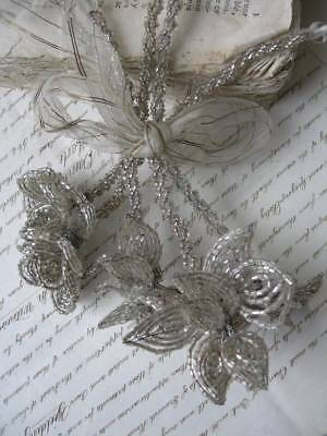 Bouquet posy vintage 5 French 1920s hand beaded beadwork flowers