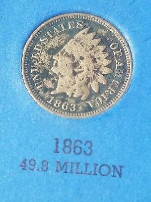 1863 Indian Head US Penny One Cent Coin