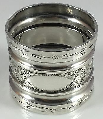 Antique Victorian Coin Silver Sterling Braid Cut Ribbed Napkin Ring