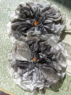 2 huge antique French 1920s silk & velvet roses millinery hat flowers