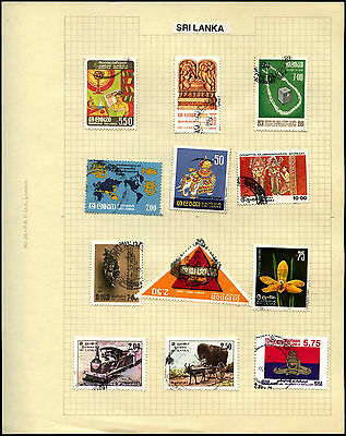 Sri Lanka Album Page Of Stamps #V5413