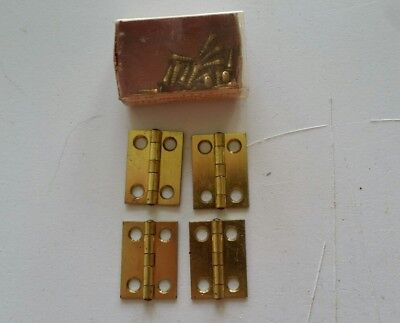 4 vintage solid brass mini hinges w/ screws (803)