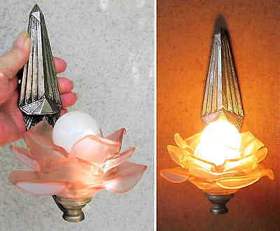 Original Antique French Art Deco Wall Light Sconce Pink Glass Flower Shade