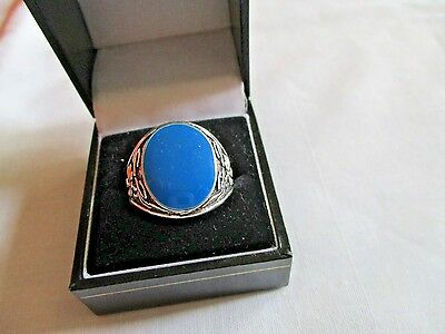 "Men""s New Silver Costume Blue Enamel Stone Ring Size T"
