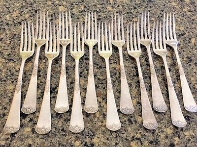 "Antique silver plate forks x 12, ""Alaska"" by Rogers (anchor)"