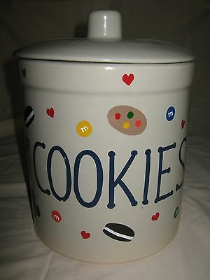 M & M 1 Gal. Crock Cookie Jar w/ Lid - Roseville, OH - R.R.P. Co. - Hand Painted