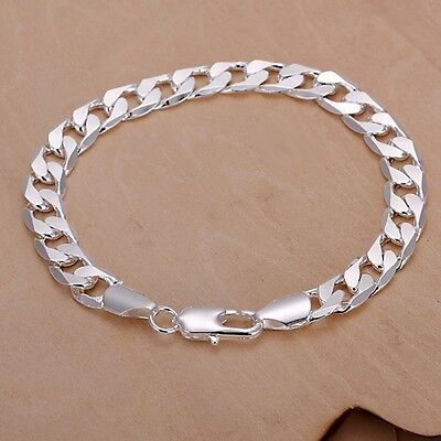 "Sterling Silver  Curb Bracelet 8"" 10mm plated  hallmark 925"