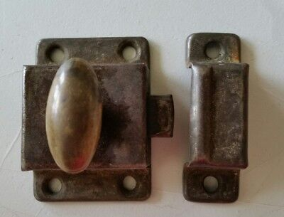 Old turn knob cabinet latch and catch  with brass knob shabby chic  (807)