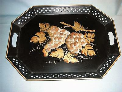 """Nashco Hand Painted & Signed Gold Grape Clusters on Black Metal 20"""" long Tray"""