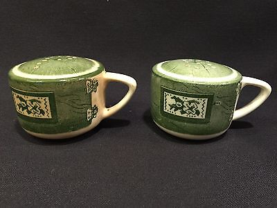 Vintage Colonial Homestead Green Salt & Pepper Shaker Set Royal USA