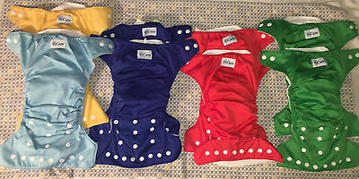 iCute Adjustable Size Pocket Diapers with Inserts (Lot of 8)